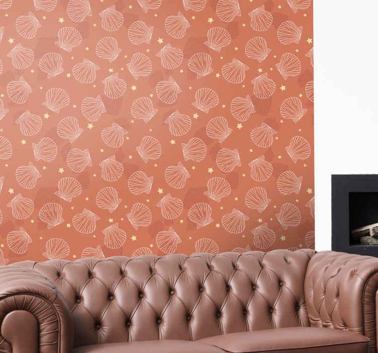 TenStickers. 贝壳和星星贝壳壁纸. 贝壳壁纸与星星的装饰包套。设计贝壳印花在橙色背景上完成。