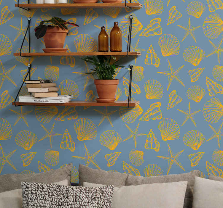TenStickers. Undersea Pack Seashell wallpaper. Beautiful pack sets of seashell wallpaper. The design seashell prints is made on blue colour background. It is original and easy to apply.