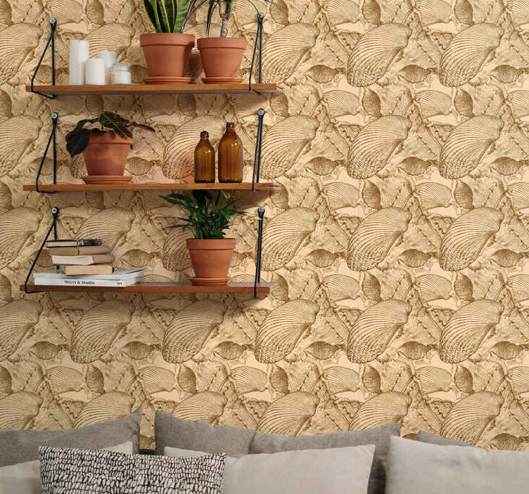 TenStickers. Vintage Seashells Seashell wallpaper. Beautiful vintage wallpaper with texture appearance imitating pack pf seashells on beach side. It is easy to apply and of high quality.