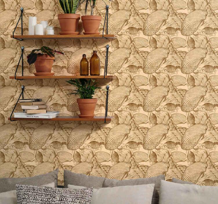 TENSTICKERS. ヴィンテージ貝殻貝殻壁紙. ビーチサイドの貝殻のパックを模倣した質感の外観を持つ美しいヴィンテージの壁紙。適用が簡単で高品質です。