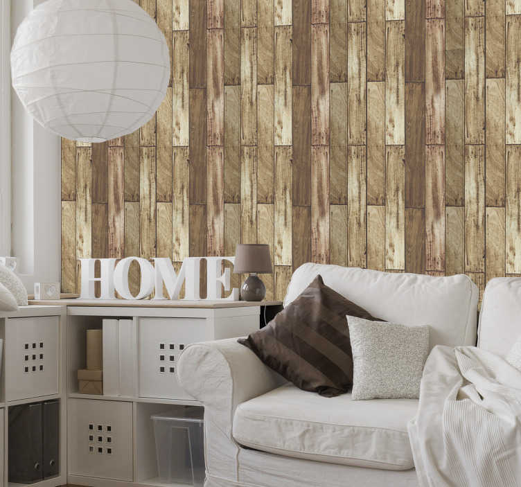 TenStickers. Tabulam ligneam Pattern Wallpaper. Make your decor more rustic and classic with this fantastic textured wallpaper imitating wood with a pattern in different shades of brown.