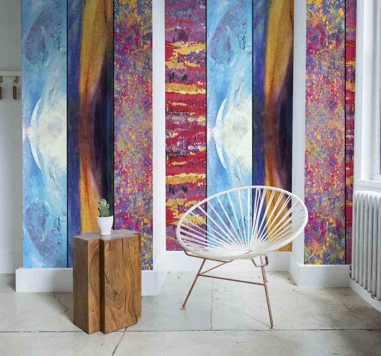 TenStickers. Papier peint éclaboussures colorées. Ce papier peint coloré transformera vos pièces en des lieux incroyables et magiques pleins de vie. Une combinaison parfaite de adhesif decos.