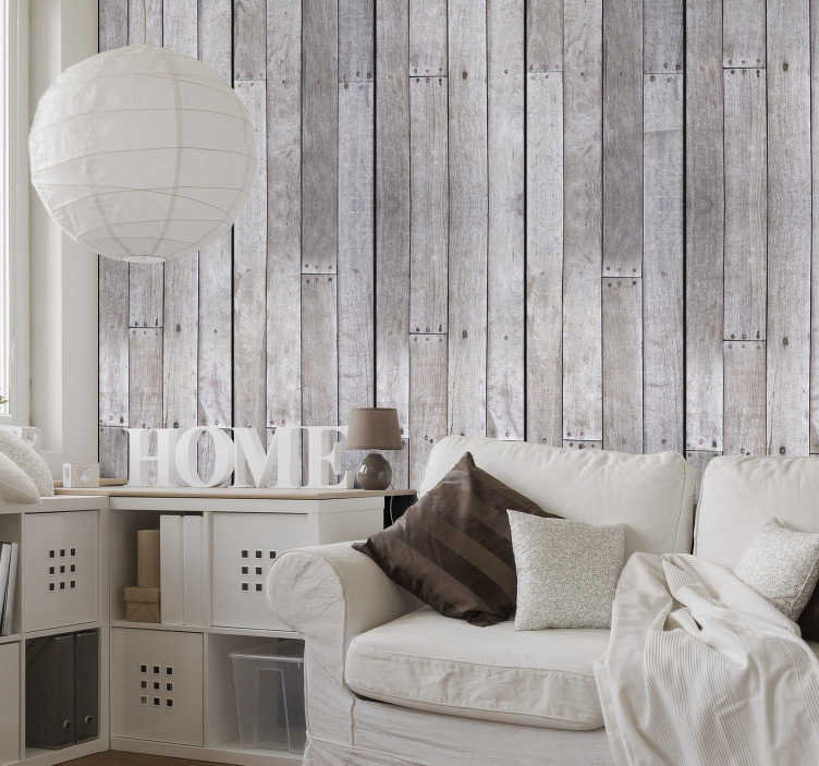 TenStickers. Striped Wallpaper Gray Wood. This amazing design of striped wallpaper will be perfect for any room in your house. The high quality of the material makes the application very easy.