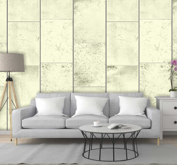 TenStickers. Love the Concrete Textured Wallpaper. Fantastic concrete wallpaper with a pattern composed of rectangles in shades of yellow stained in black ideal for decorating your living room.