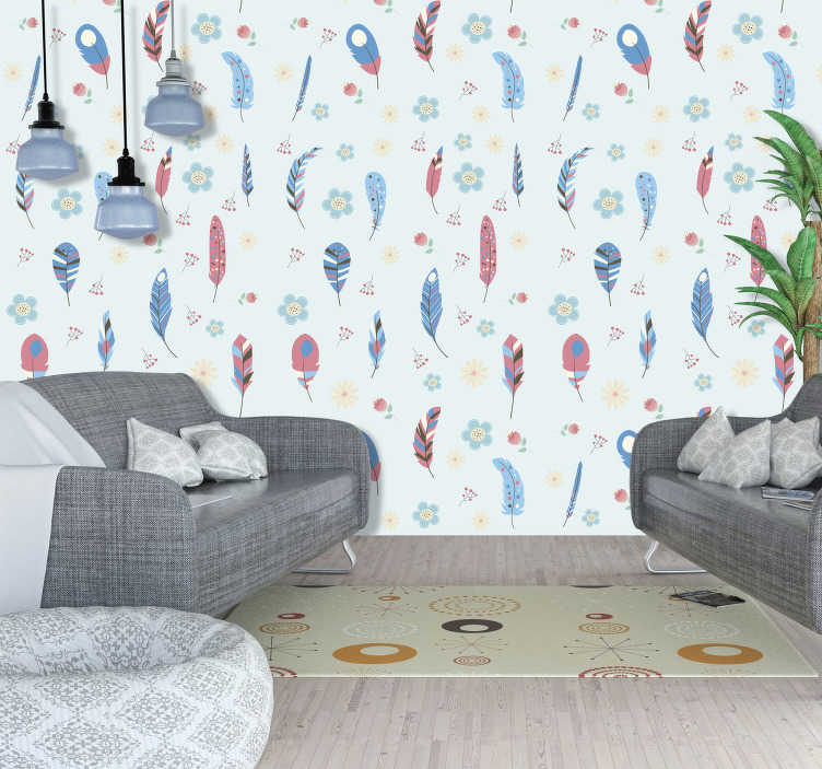 TenStickers. Colorful Wallpaper Feathers Bird. Have a look at this lovely children's bedroom wallpaper that will change every room into cute, full of positive vibes place. Order it now!