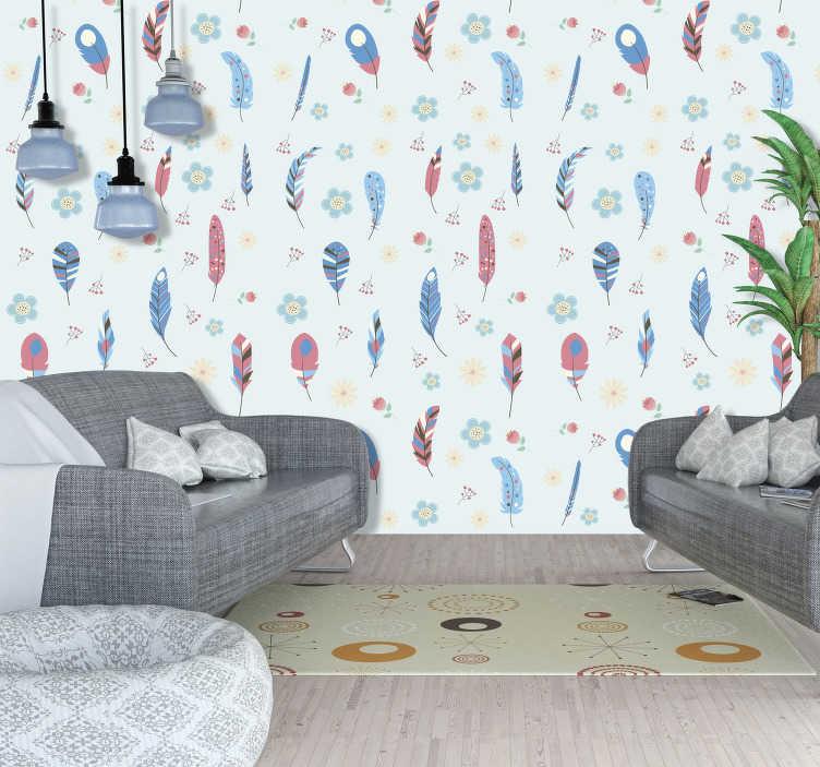 TenVinilo. Papel pintado plumas coloridas. Papel pintado de plumas coloridas quedará totalmente integrado en cualquiera de las paredes que desees. Papel pintado para salon, dormitorio, etc.