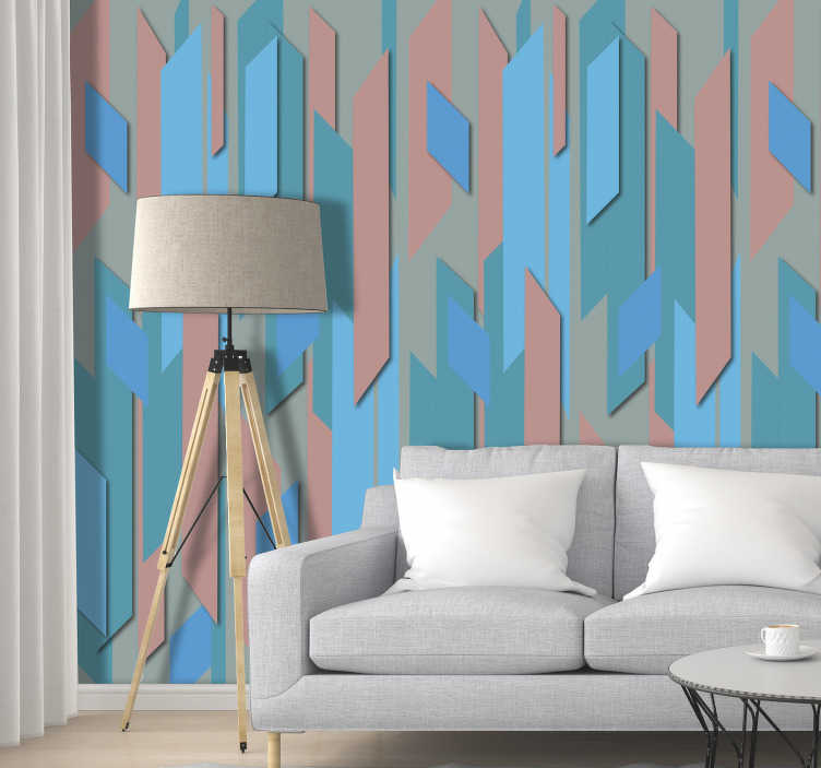 TenStickers. Blue Lagoon Dining Room Wallpaper. Let go of the dull and monotonous white walls and add life and color to your home with this original modern living room wallpaper with a blue pattern.