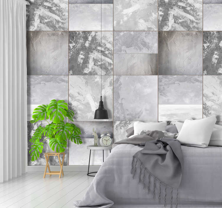 TenStickers. Pattern Wallpaper Gray domino. Can you imagine a better solution than living room wallpaper? We do not think so, that is why we decided to offer you those modern decorations.