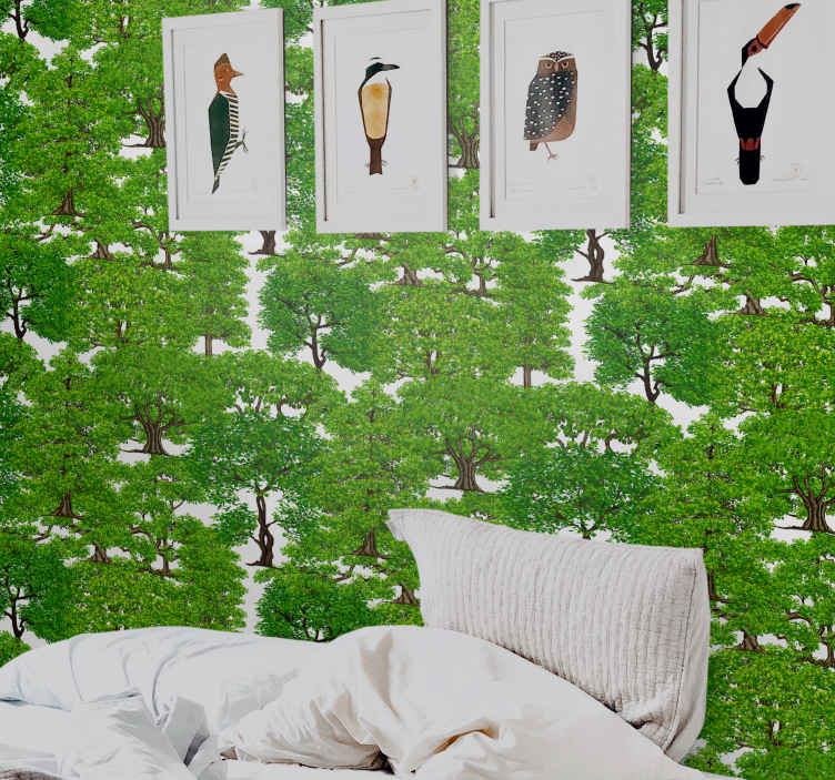 TenStickers. Green forest with trees palm tree wallpaper. An amazing bedroom headboard wallpaper design of green tree forest. A  design to give a breath of freshness of green trees in your home.