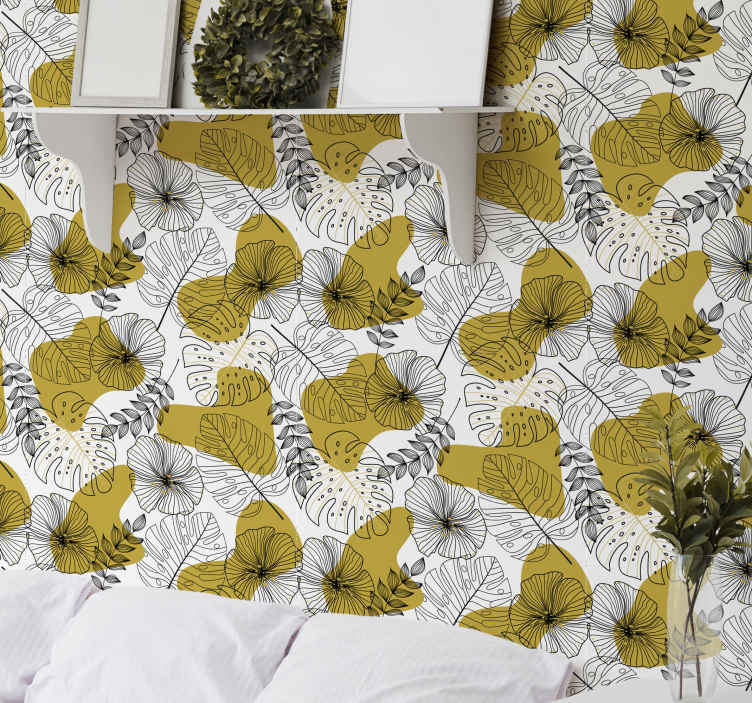 TenStickers. Golden tropical leaves palm tree wallpaper. Golden tropical leaves tree wallpaper. Beautiful design to decorate any space in the home. It is easy to apply and of good quality.