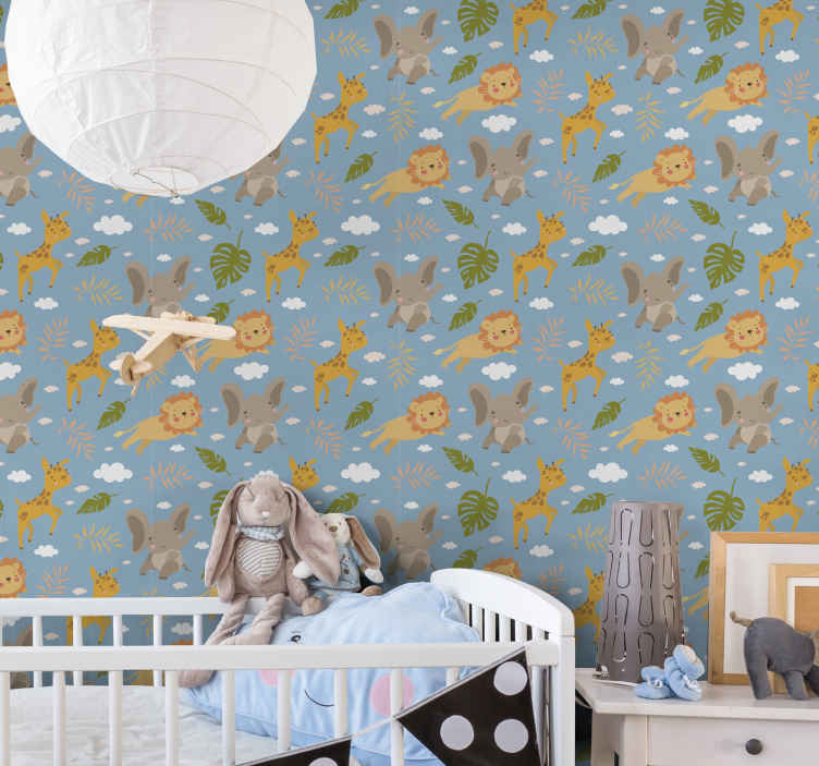 TenStickers. For kids blue background with animals Cool animal wallpaper. Decorative featured jungle animal wallpaper for kids room. On the design are cartoon monkeys giraffe, lion, baby elephants, tropical leaves and more.