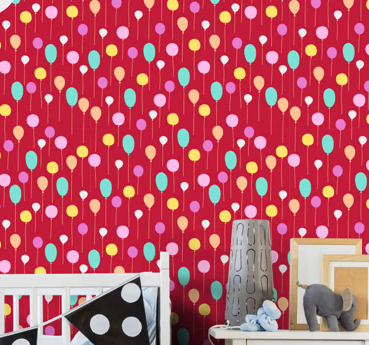 TenStickers. For kids red background with balloons Cool animal wallpaper. Colorful balloons children's wallpaper decoration. An amazing design to set the room of a kid apart with fascination. Easy to apply and removable.