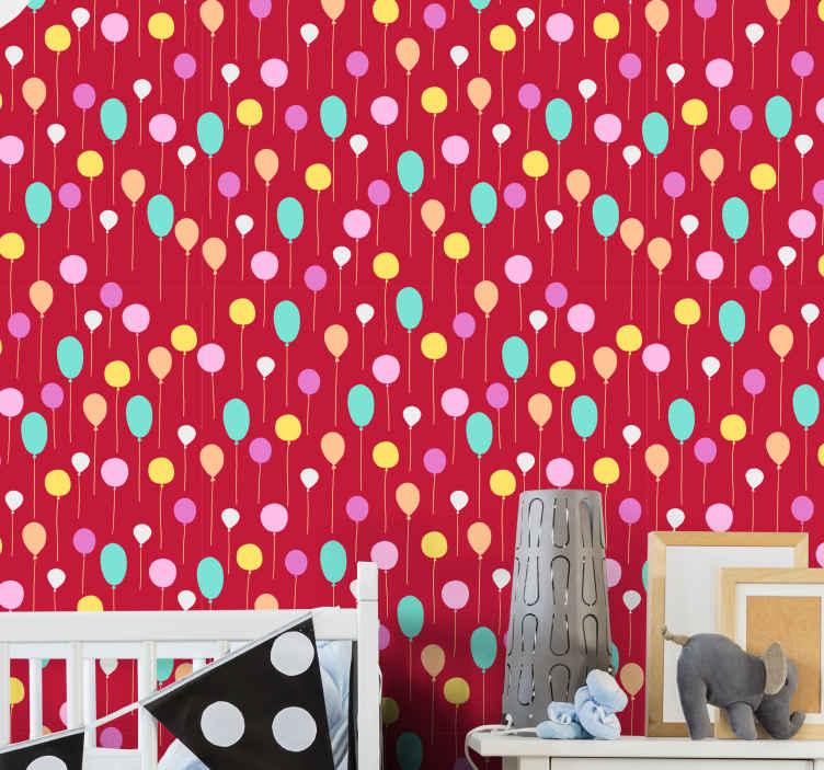 TenStickers. Tapeta Kolorowe balony . Kolorowe balony dekoracja tapety dla dzieci. Niesamowity projekt, który wyróżnia pokój dziecka z fascynacją. łatwe do nałożenia i usunięcia.