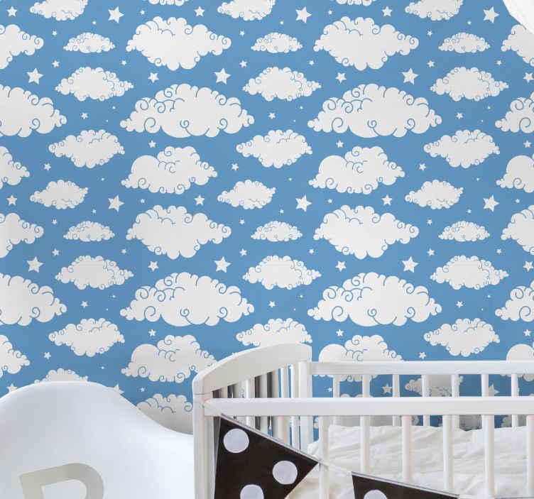 Tenstickers. Sininen taivas ja pilvet Tapetti lastenhuoneeseen. Koriste sininen taivas ja pilvet lasten tapetti. Kaunis muotoilu luo upean ilmapiirin lapsesi huoneeseen. Alkuperäinen ja kestävä.