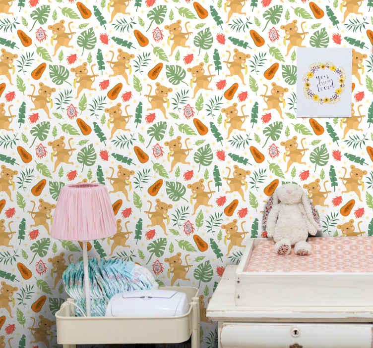 TenStickers. 热带猴子在树枝酷动物壁纸. 儿童卧室壁纸具有热带树叶,猴子,昆虫等的特色设计。. 原始,耐用,防水且易于使用。