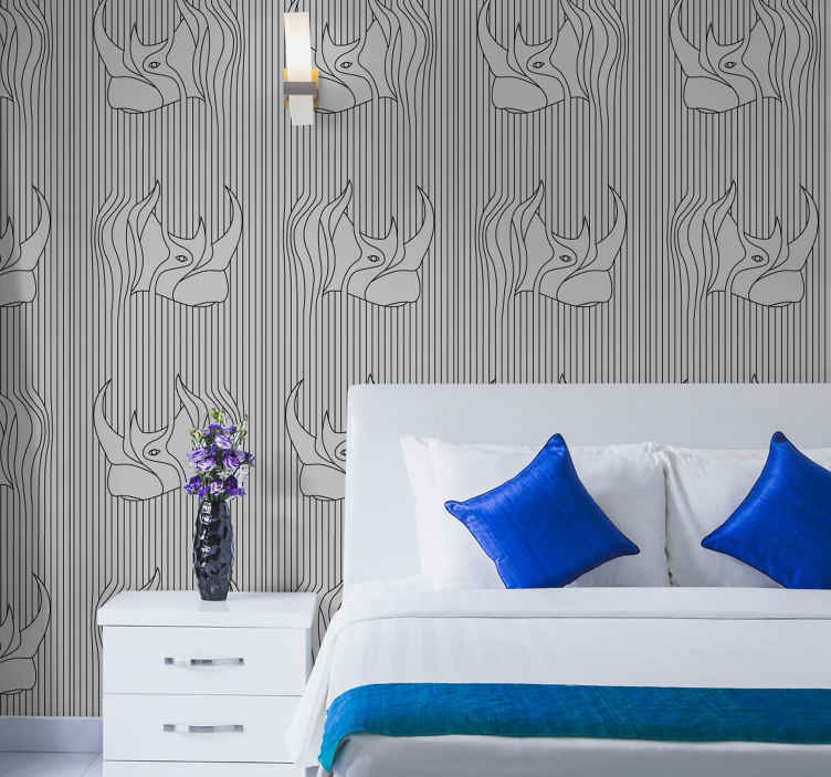 TenStickers. Abstract with rhinos in gray background Abstract Wallpaper. Nice abstract with rhinos in gray background wallpaper for the bedroom. A great design with illustrations that is easy to use.