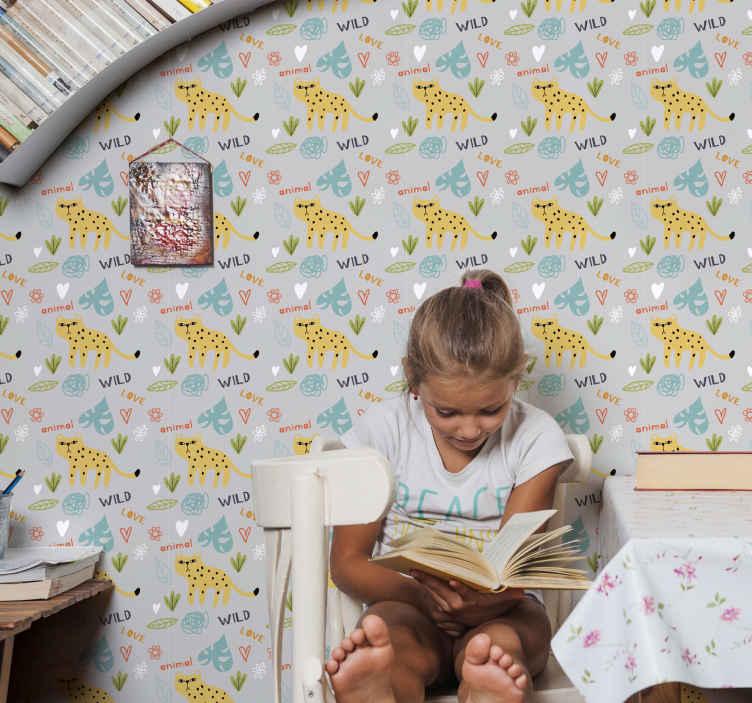 """""""Tenstickers"""". Abstrakti su leopeardais pilkame fone šaunūs gyvūnų tapetai. Nuostabus abstraktas su leopardais pilkos spalvos fone miegamajam. Puikus dizainas su iliustracijomis, kurį lengva naudoti."""