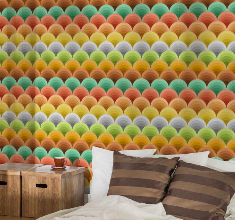 TenStickers. Vintage behang met oranje cirkels. Super vintage met oranje cirkels slaapkamer behang voor in de slaapkamer. Een geweldig ontwerp met illustraties die gemakkelijk te gebruiken zijn.