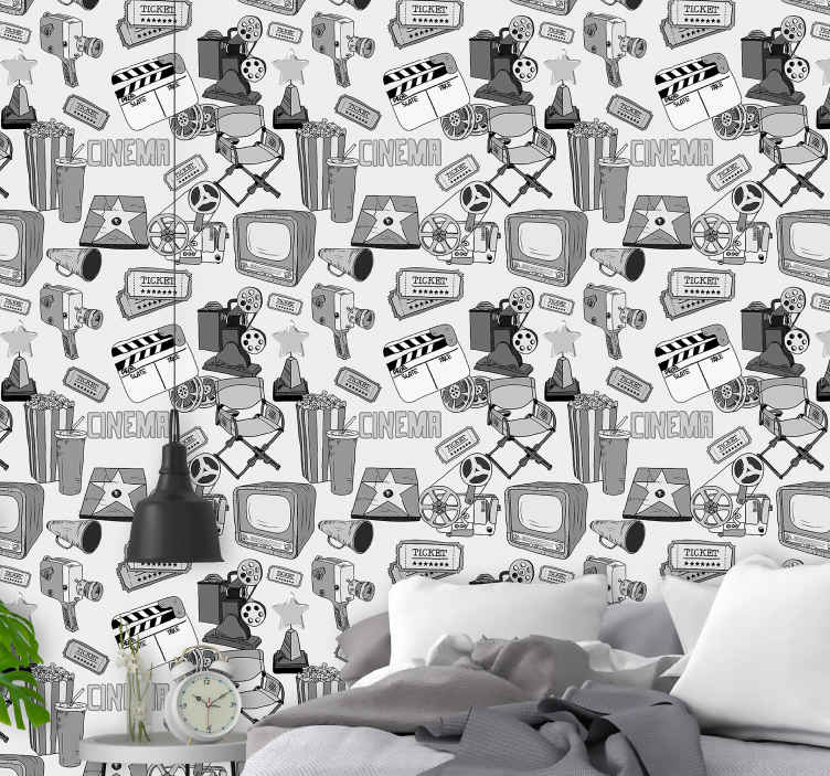 TenStickers. Vintage hollywood black and white pictures Retro Wallpaper. Super and nice vintage hollywood black and white pictures bedroom wallpaper for the bedroom. A great design with illustrations that is easy to use.
