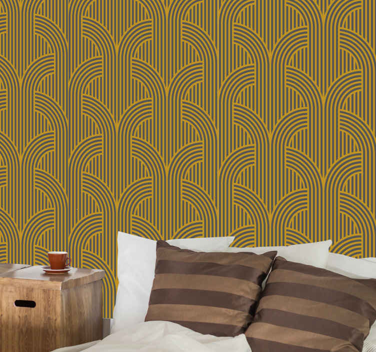 TenStickers. Golden vintage ornamental gray stripes Retro Wallpaper. Good and nice golden vintage ornamental gray stripes bedroom wallpaper for the bedroom. A great design with illustrations that is easy to use.