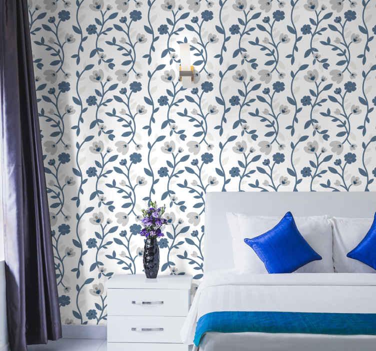 TENSTICKERS. 抽象的な花青と灰色の自然の壁紙. 寝室のための素敵な抽象的な花の青と灰色の寝室の壁紙。使いやすいイラスト付きの素敵なデザイン。