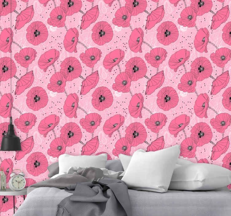 TenStickers. Flowers in muted pink Nature Wallpaper. Beautiful flowers in muted pink bedroom wallpaper for the bedroom. A great design with illustrations that is easy to use and can be applied by anyone.