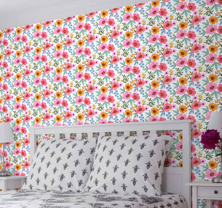 TenStickers. 七彩花朵与白色背景餐厅壁纸. 美妙的七彩花朵与白色背景卧室壁纸的卧室。精美的插图设计,易于使用。
