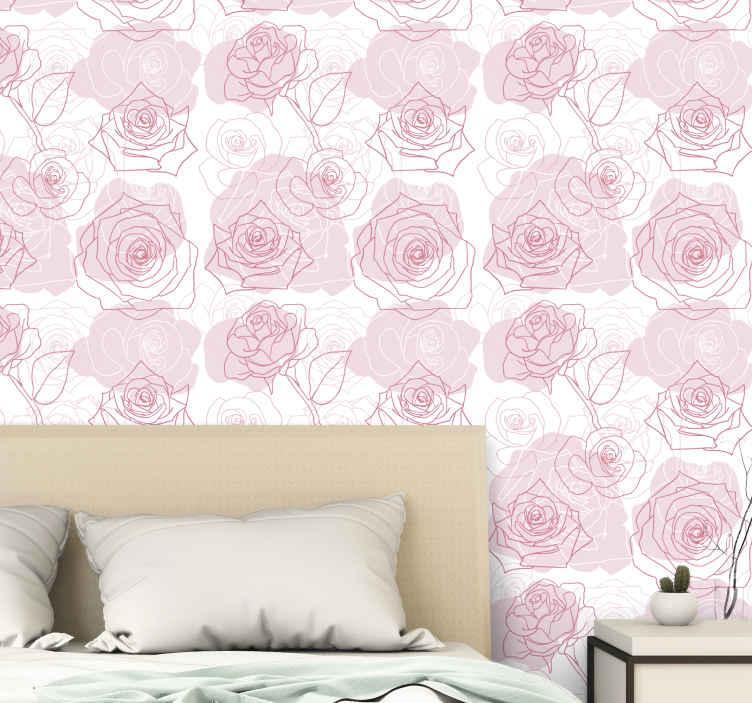 TenStickers. Behang bloemen op roze achtergrond. Schattige bloemen met rozen op roze achtergrond behang voor de slaapkamer. Een geweldig ontwerp met illustraties die gemakkelijk te gebruiken zijn.