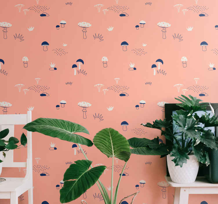 TenStickers. Toadstool nature wallpaper. Nature wallpaper which features various shapes of mushrooms, rocks and grass which all look like they have been hand drawn.