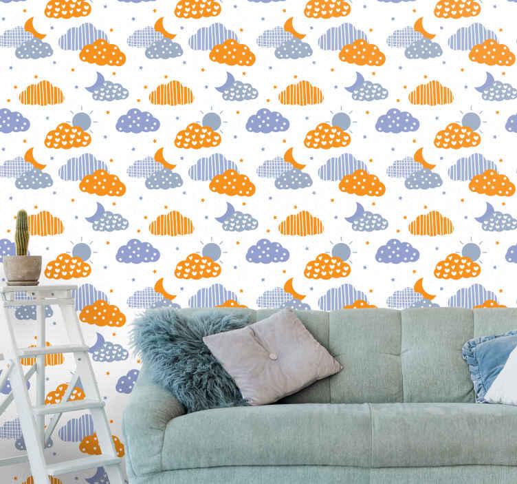 TenStickers. Papier peint graphique Lune et nuages. sticker de papier peint pour enfants qui a un sticker de nuages avec le soleil et la lune et entouré de petites étoiles. Haute qualité.