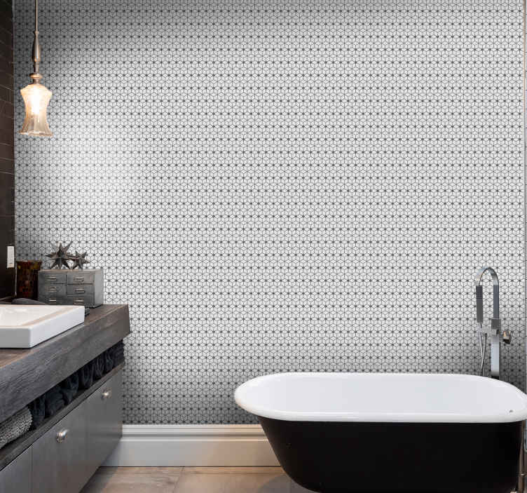 TenStickers. Gray mosaic toilet wallpaper. Simple gray mosaic patterned bathroom wallpaper. You can have the wallpaper decorated on other spaces of your choice if you prefer that.