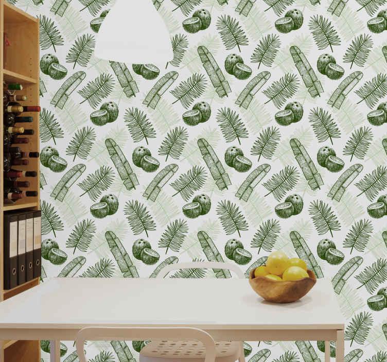 TenStickers. Carta da parati cucina Paradiso del cocco. Bellissima carta da parati a tema giungla con cocco e foglie di palma per cucine domestiche, ristoranti e altri spazi.