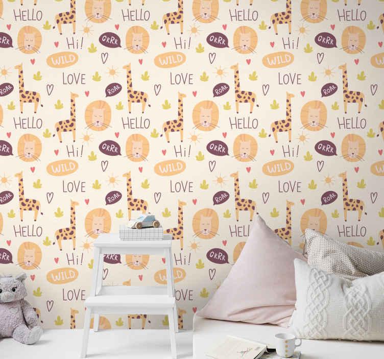 TenStickers. Tapeta do pokoju dziecięcego Mówiąca żyrafa. Kolorowa tapeta żyrafa z napisem hello wild love do dekoracji pokoju Twojego dziecka. Wysokiej jakości produkt dostarczony do twojego domu!