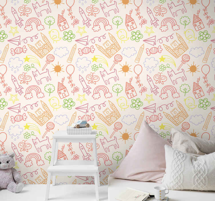 TenStickers. Children's wallpaper with drawings. A colorful drawing wallpaper to decorate your child's room. The wallpaper is made of high quality vinyl and it is very easy to apply.