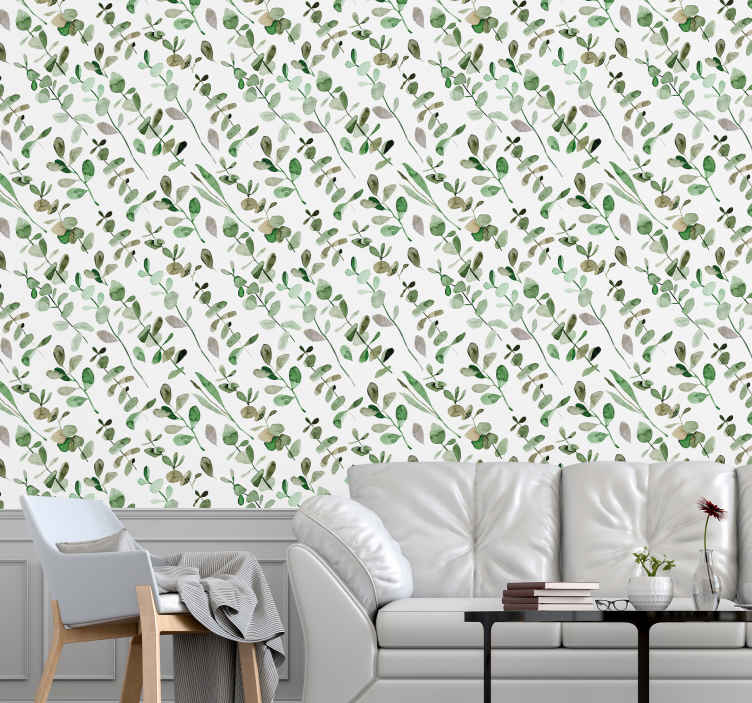 TenStickers. White background with branches palm tree wallpaper. This white background with tree branches wallpaper will lively up and brighten up any room installed on. Manufactured with high quality vinyl.