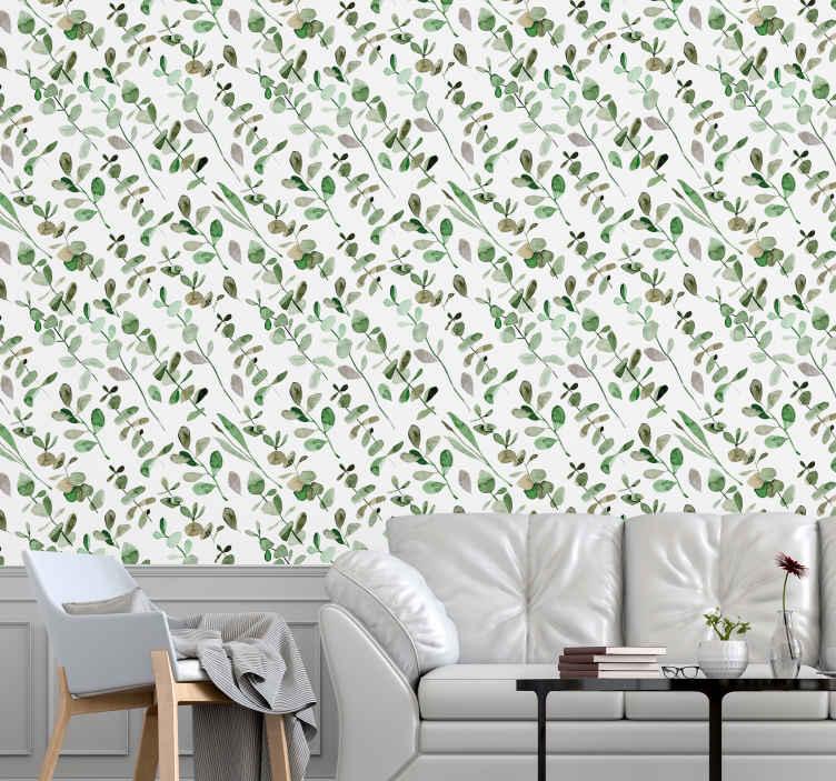 TENSTICKERS. 枝と白い背景ヤシの木の壁紙. 木の枝の壁紙が付いたこの白い背景は、設置されている部屋を活気に満ちて明るくします。高品質のビニールで製造されています。