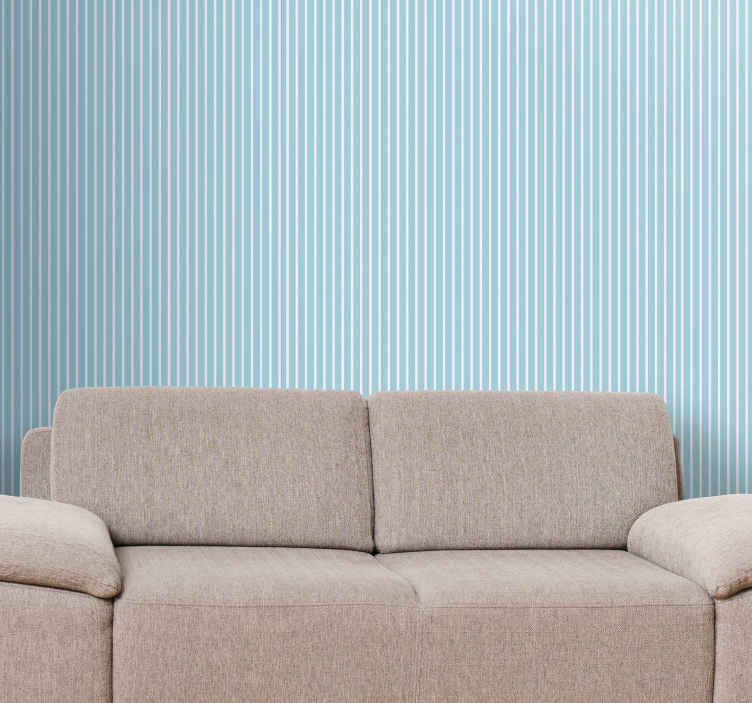 TenStickers. Blue white and beige striped wallpaper. Blue white and beige vertical wallpaper to decorate your space in a simple way but with simple stripy detail. It is manufactured with quality material