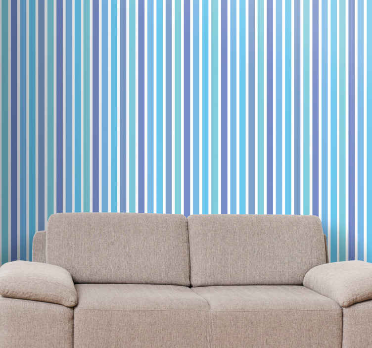 TenStickers. Blue and green Striped Wallpaper. Striped wallpaper which features a lovely pattern of vertical stripes in various colours. High quality materials used. Worldwide delivery.