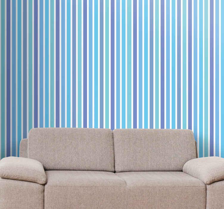 TenStickers. 蓝色和绿色的条纹的墙纸. 条纹墙纸,具有各种颜色的可爱竖条纹图案。使用优质材料。全球交付。