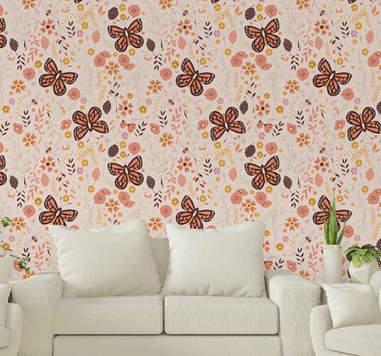 TenStickers. Pink flowers and butterflies Nature Wallpaper. Floral wallpaper which features a pattern of various flowers and leaves surrounded by big stunning butterflies. High quality.