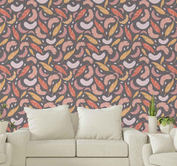 TenVinilo. Papel pared comedor de plumas coloridas. Este papel pintado gris con plumas es apto para decorar cualquier estancia del hogar. Es original, duradero y fácil de aplicar.