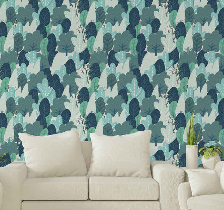 TenStickers. Cartoon forest tree wallpaper. Tree wallpaper which features a pattern of cartoon trees, all overlapping each other, creating a lovely forest effect. High quality.