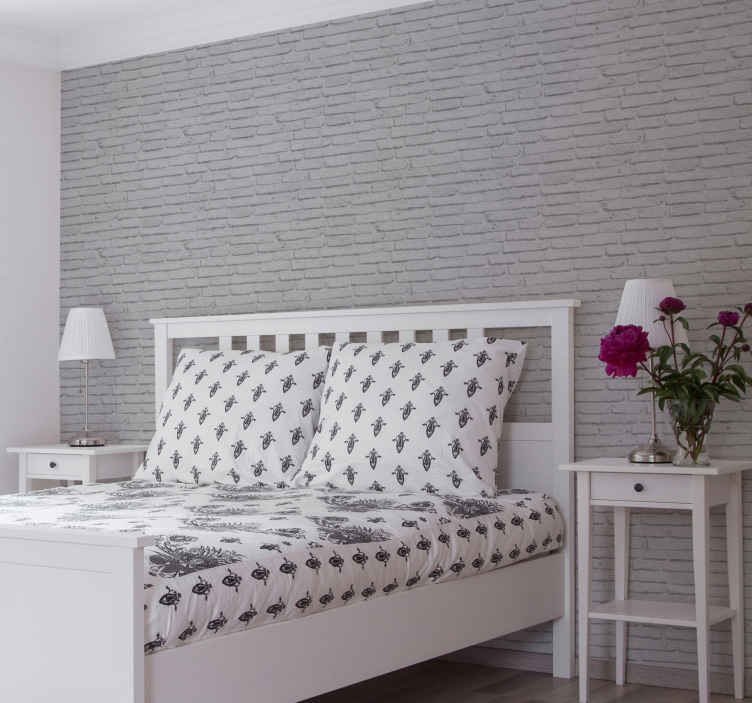 TenVinilo. Papel pared ladrillos texturizado gris. Papel pared ladrillo que presenta un patrón de ladrillos blancos que harán que su pared parezca original ¡Envío exprés!