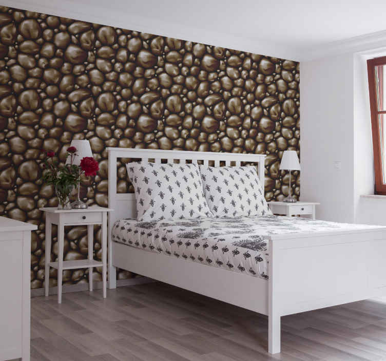 TenStickers. Wallpaper brown stone texture wallpaper Bedroom Wallpaper. This brown rock textured wallpaper is a must have to make sure your bedroom gets the modern look that it deserves! Create a modern bedroom now!