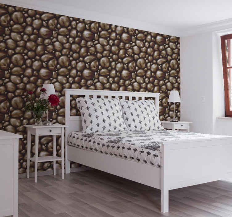 TenStickers. 壁纸棕色石头纹理壁纸卧室壁纸. 这款棕色岩石质感壁纸是确保您的卧室拥有应有的现代外观的必备条件!立即创建现代卧室!