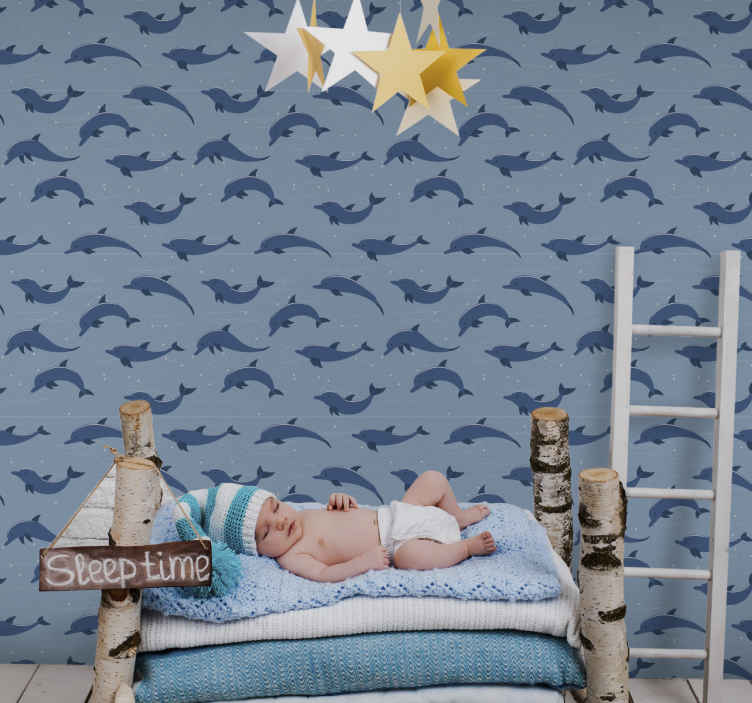TenStickers. Wallpaper kids room ocean dolphins kids wallpaper. Have your child mesmerized with this ocean kids wallpaper. Your child will feel like their are swimming with the dolphins themselves! Swim now!