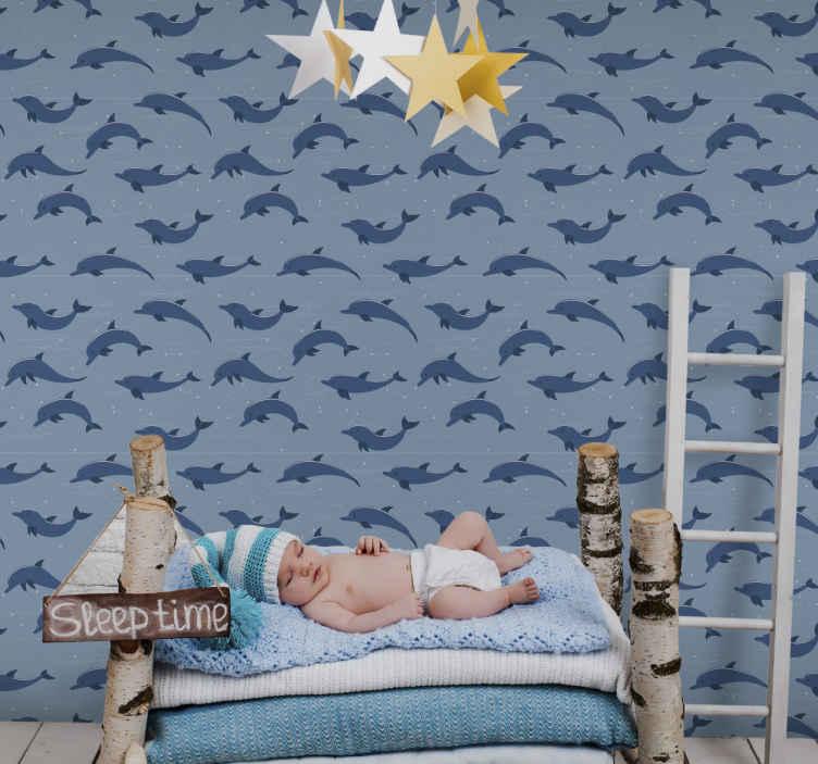 TENSTICKERS. 壁紙キッズルームオーシャンイルカキッズ壁紙. あなたの子供をこの海の子供たちの壁紙に魅了させてください。あなたの子供は彼らがイルカと一緒に泳いでいるように感じるでしょう!今泳ぐ!