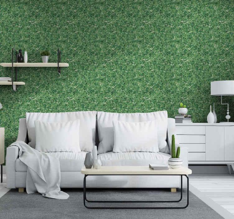 TenStickers. Tapeta do salonu Tekstura trawy. Szukasz efektu naturalnej trawy, który ozdobi twoją przestrzeń? Ta tapeta z zieloną trawą może cię pokryć.