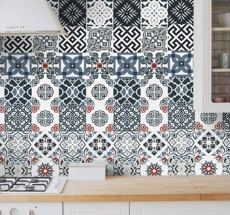 TenVinilo. Papel pared azulejos portugueses retro. Este papel pared  de azulejos portugueses es adecuado para cocina y baño. Diseño de color azul estilo retro ¡Escoge las unidades!