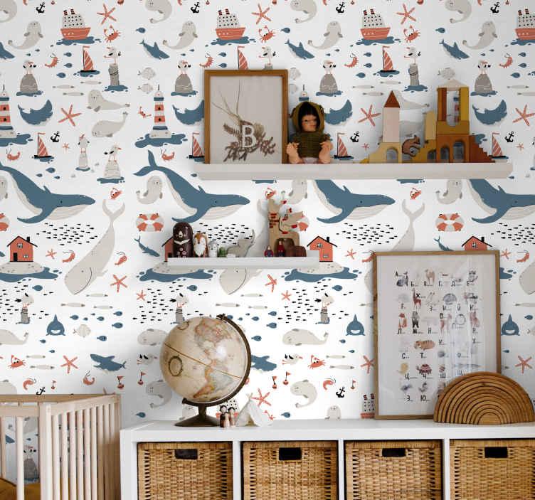 TenStickers. Tapeta do pokoju dziecięcego Pod wodą. Tapeta dla dzieci, która zawiera wzór obiektów o tematyce oceanicznej, w tym walię, foki, ryby i rozgwiazdy! Wysoka jakość.